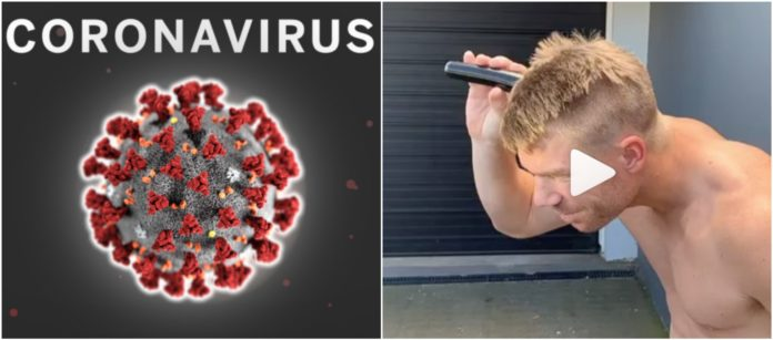 David Warner shaves off head in support towards workers who fight against corona virus and insist Virat Kohli to follow