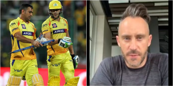 CSK's Faf du Plessis and MS Dhoni