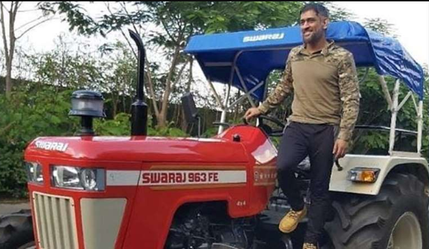 Dhoni with his Swaraj tractor