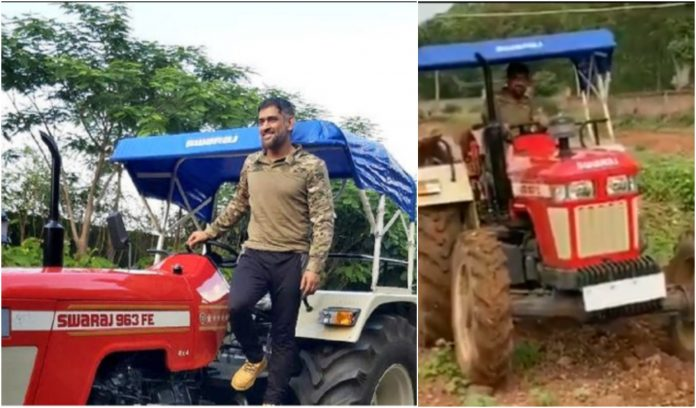 Dhoni with his tractor in his farm house