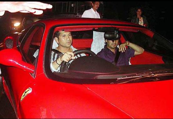 Sachin Tendulkar driving ferrari car