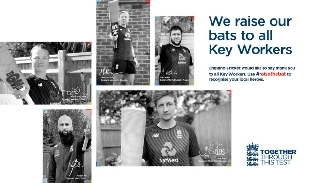 England Cricketers to Wear Names of Key COVID Workers