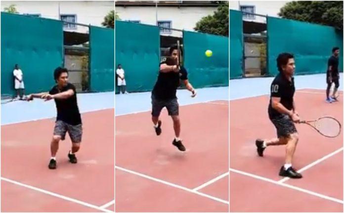 Sachin Tendulkar playing Tennis