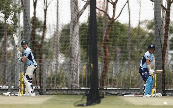 Steve Smith and David Warner training in outdoor turf
