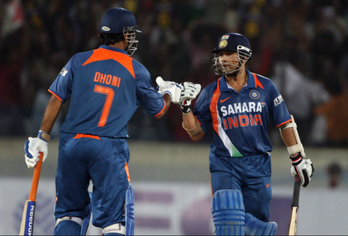 Sachin Tendulkar and Dhoni