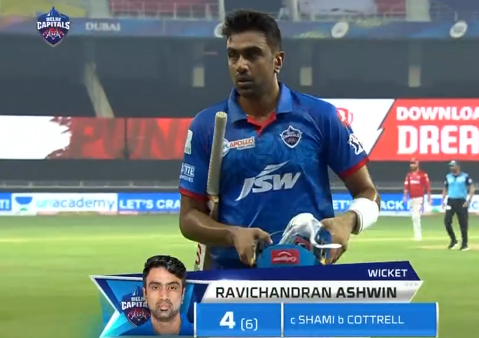 Ashwin dismissed for 4 run