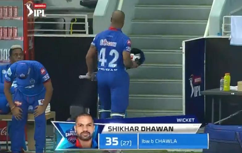 IPL 2020 CSK vs DC Dhawan dismissed for 35 runs