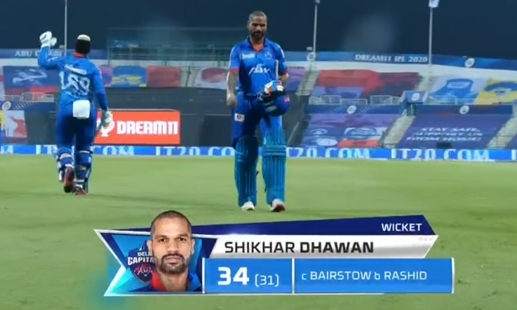 Dhawan dismissed for 34 runs
