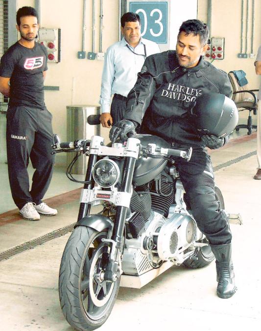 Dhoni with his Harley Davidson bike