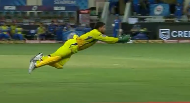Dhoni makes an impressive catch to dismiss Iyer for 26 runs.