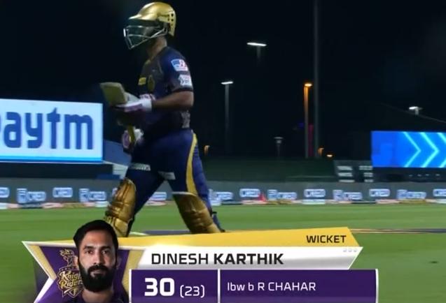 Dinesh Karthik dismissed for 30 runs