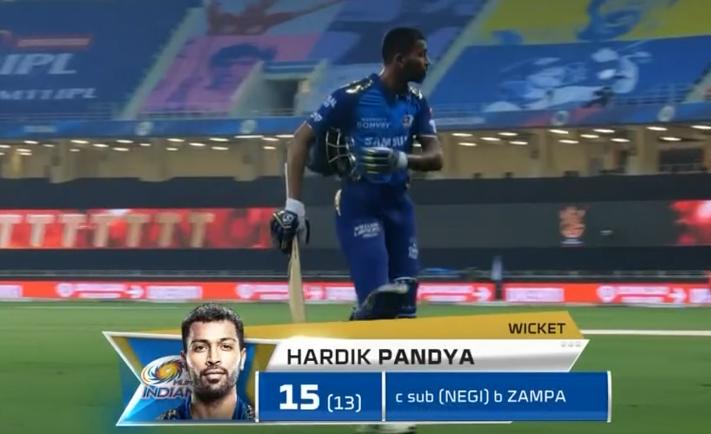 Hardik Pandya dismissed for 15 runs
