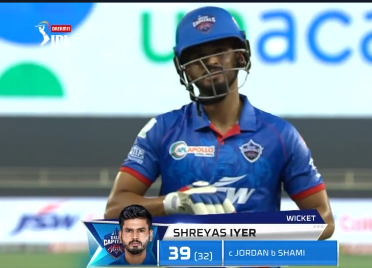 Shreyas Iyer dismissed for 39 runs
