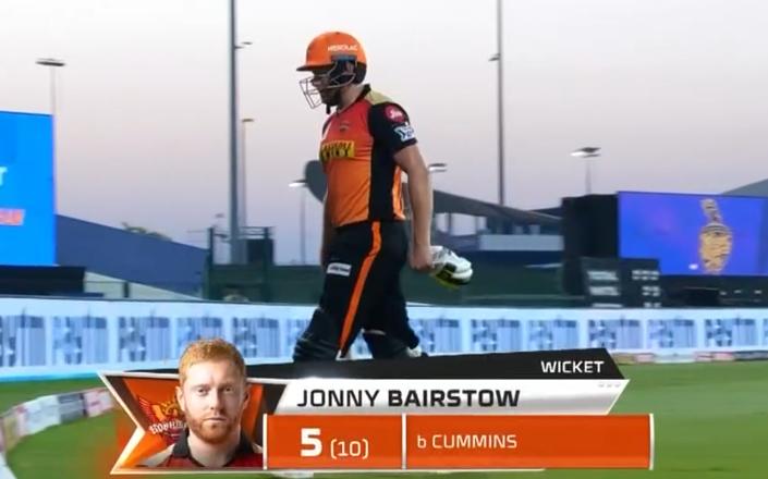 IPL 2020 KKR vs SRH Jonny Bairstow dismissed for 5 runs