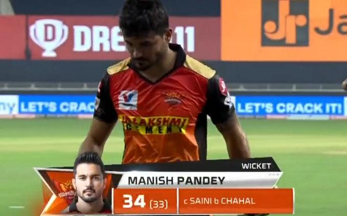 Manish Pandey dismissed for 34 runs