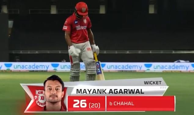 IPL 2020 KXIP vs RCB Mayank Agarwal dismissed for 26 runs
