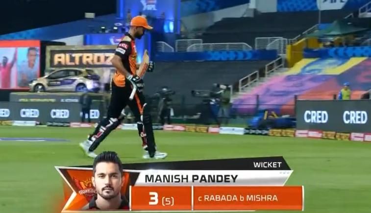 Manish Pandey dismissed for 3 runs