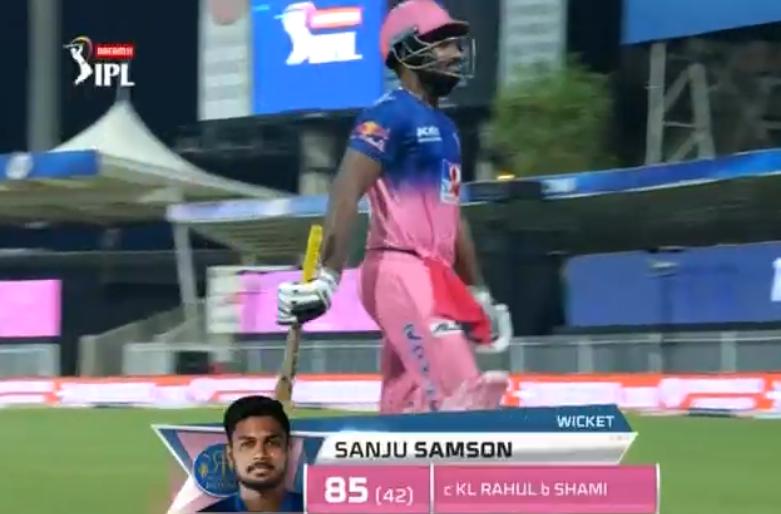 Sanju dismissed for 85 runs