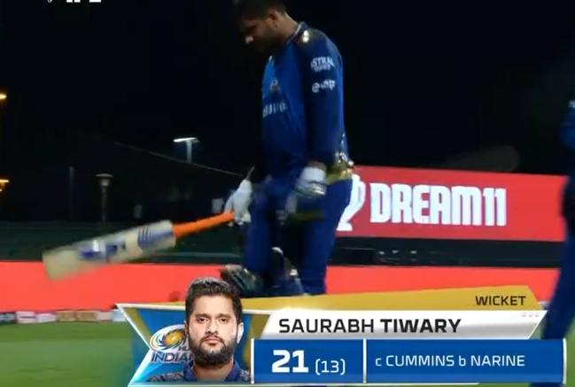 Saurabh Tiwary dismissed for 21 runs