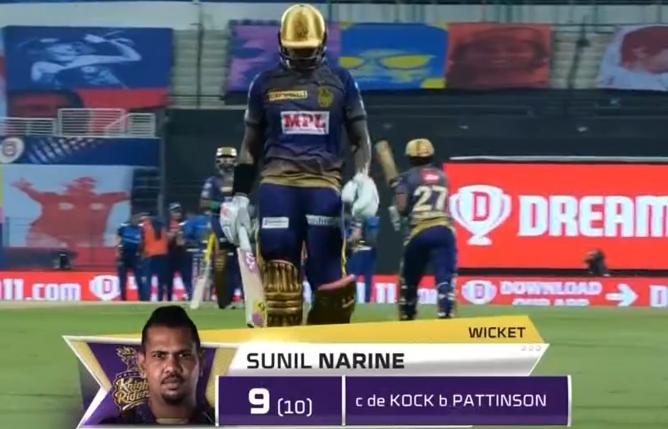 IPL 2020 KKR vs MI Sunil Narine dismissed for 9 runs.