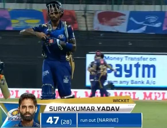 IPL 2020 KKR vs MI Suryakumar Yadav Dismissed for 47 runs