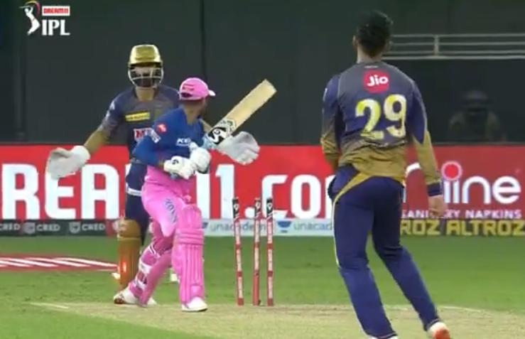 IPL 2020 RRvs KKR Tewatia dismissed for 14 runs