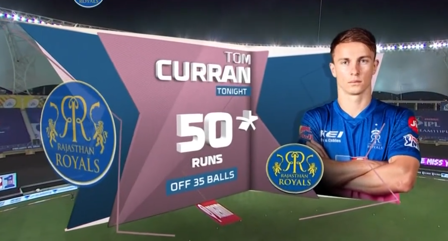 Tom Curran reached his half century from 35 deliveries