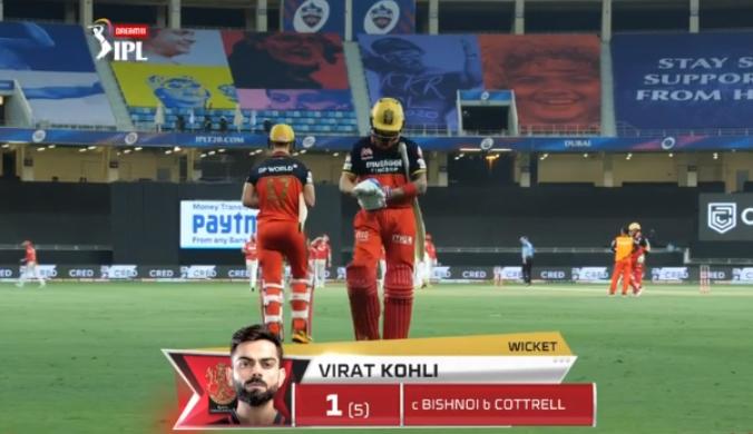 Virat Kohli dismissed for 1 run
