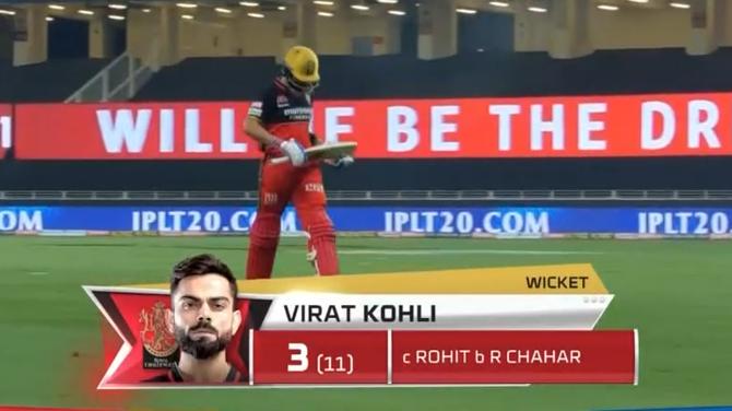 Virat Kohli dismissed for 3 runs