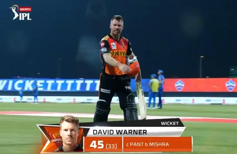 IPL 2020 DC vs SRH Warner dismissed for 45 runs