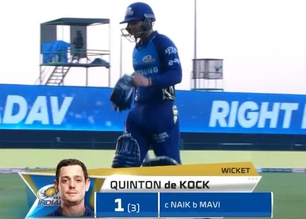 IPL 2020 KKR vs MI de Kock dismissed for 1 run