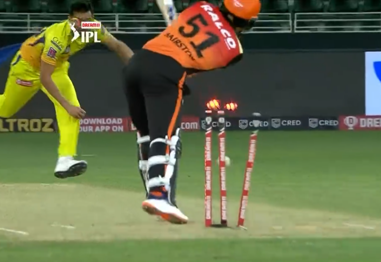 IPL 2020 CSK vs SRH Bairstow dismissed for duck