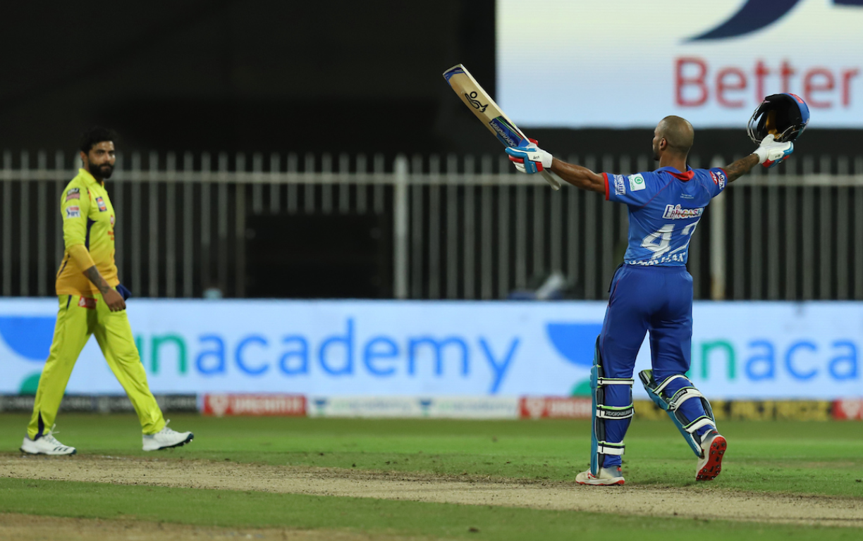 DC vs CSK   Dhawan bags his IPL maiden century
