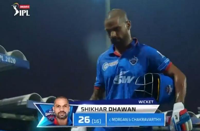 IPL 2020 DC vs KKR Dhawan dismissed for 26 runs
