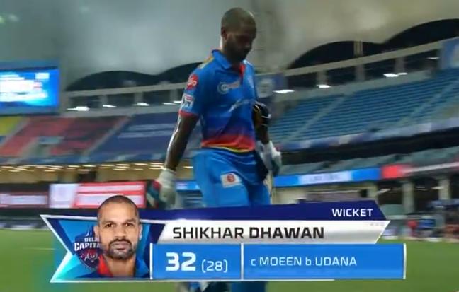 Dhawan dismissed for 32 runs