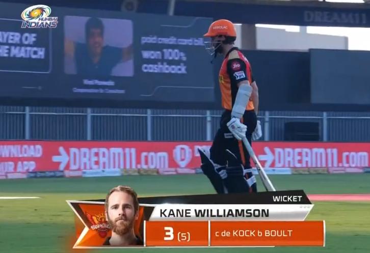 IPL 2020 MI vs SRH Kane Williamson dismissed for 3 runs