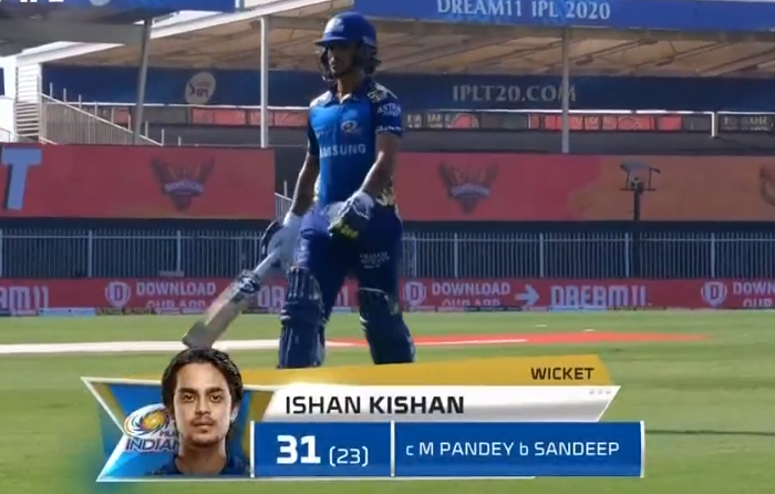 Kishan dismissed for 31 runs