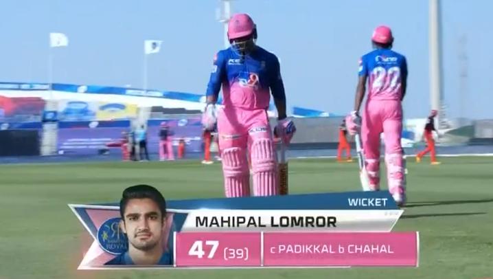 RCB vs RR Lomror dismissed for 47 runs