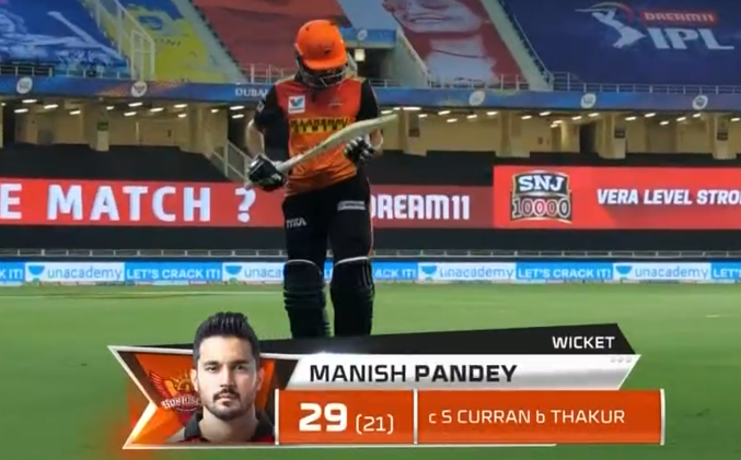 IPL 2020 CSK vs SRH Manish Pandey dismissed for 29 runs