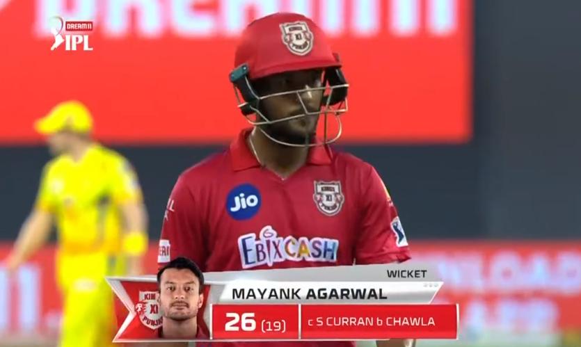 IPL 2020 KXIP vs CSK Mayank Agarwal dismissed for 26 runs