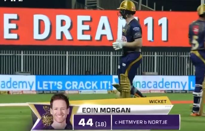 Morgan dismissed for 44 runs
