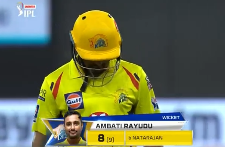 Rayudu dismissed for 8 runs