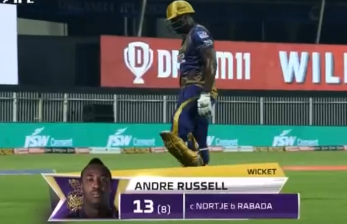Russell dismissed for 13 runs
