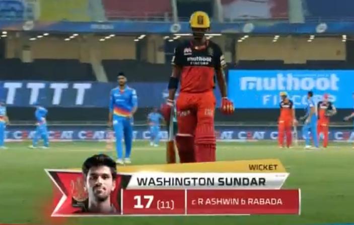 Washington Sundar dismissed for 17 runs