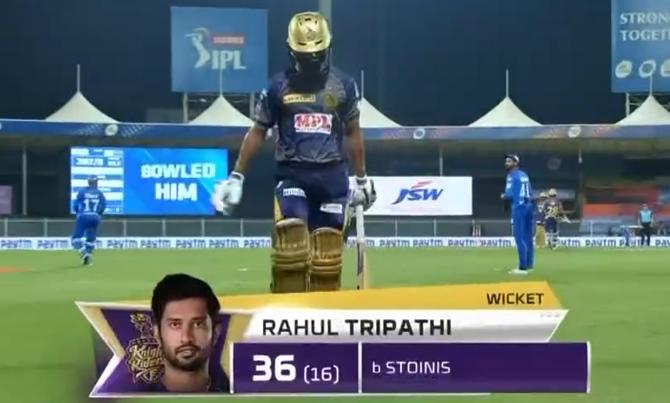 Tripathi dismissed for 36 runs