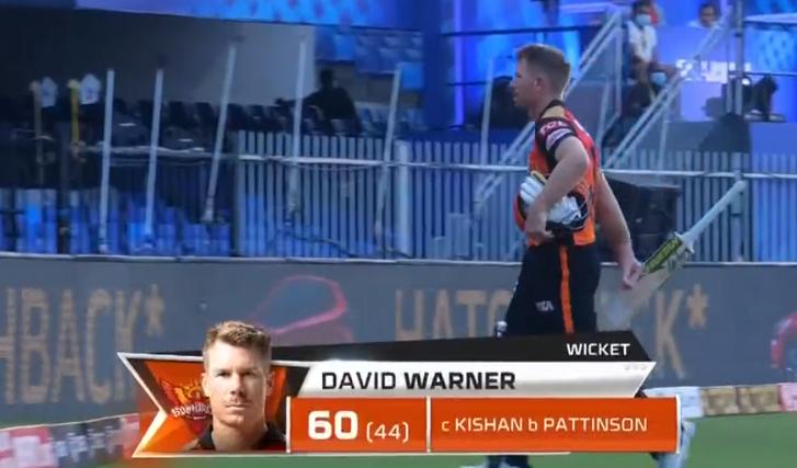 MI vs SRH David Warner dismissed for 60 runs
