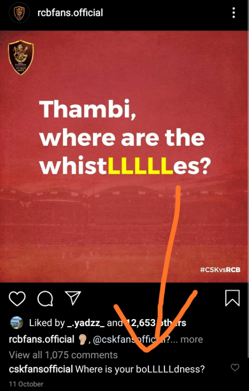 CSK's reply to RCB's old post