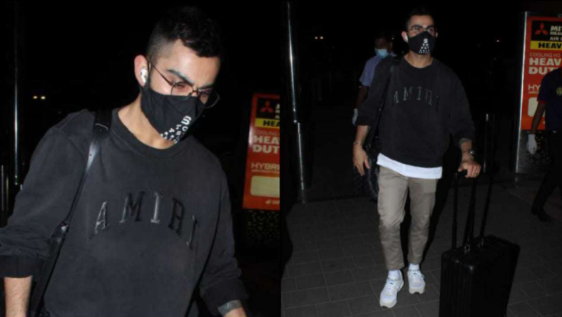 The Indian skipper was spotted at Mumbai airport leaving for Chennai.