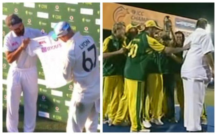 Ajinkya Rahane presented Nathan Lyon a signed jersey on the latter's 100th Test