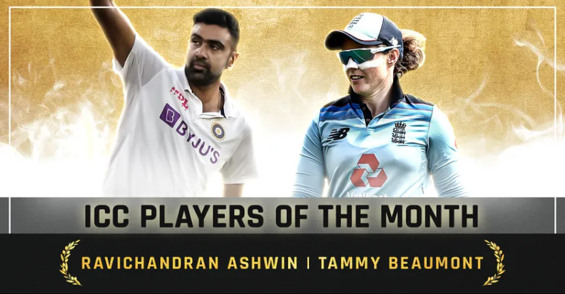 Tammy Beaumont(England) Ashwin(India) bags the ICC Player of the Month Award